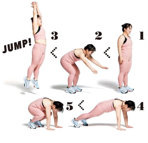 1 まっすぐ立つ。 2 勢いをつけて......、 3 上に高くジャンプ。4 すぐに床に手をつきながら伏せる。 5 膝を引き寄せる。この後また1へ。1〜5を計10回×3セット。