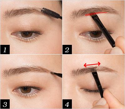 毛流れを整えて 眉のフレームを描く