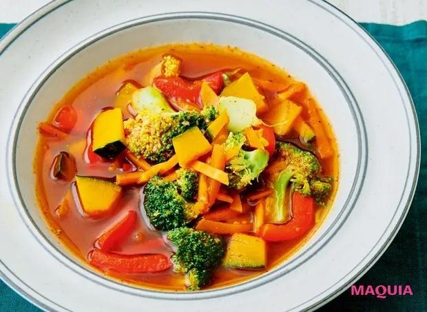 【美容スープレシピ】緑黄色野菜たっぷりで抗酸化パワー絶大 「かぼちゃとブロッコリーのオイスターソーススープ」