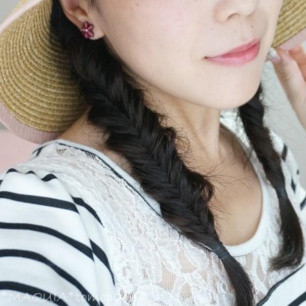 フィッシュボーン×くるりんぱ★つば広帽子にぴったりヘアアレンジ☆フィッシュボーンのやり方解説付き。ママにもおススメ^^