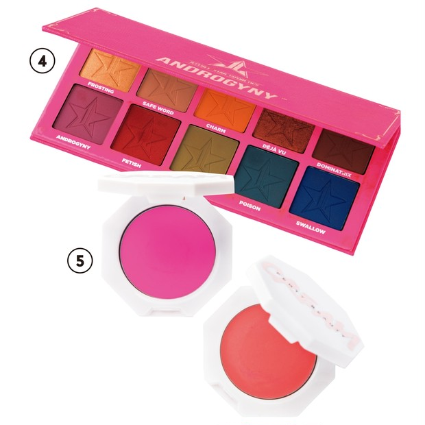 ④Androgyny Eyeshadow Palette $45/Jeffree Star Cosmetics ⑤Cheeks Out Freestyle Cream Blush Bikini Martini、Petal Poppin 各$20/Fenty Beauty