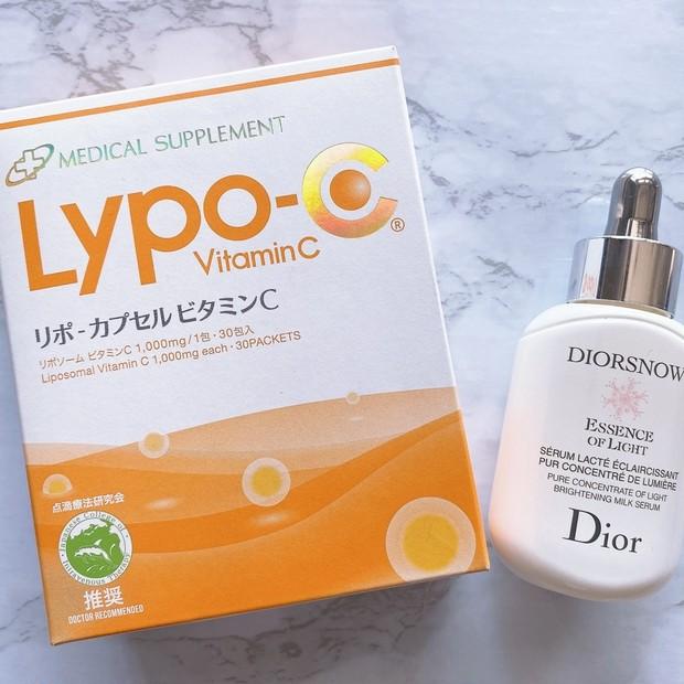 """《美白ケア》Dior美容液と高濃度の""""飲むビタミンC""""で外側と内側からしっかりケア"""