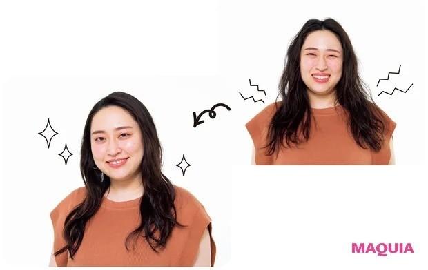 丸山礼さん実演・オンラインでの美人角度_ヘアセラムやミルクでやや束感が残るくらいに整えると上品。