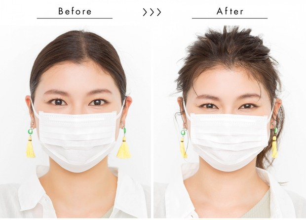 【マスクに合う髪型】いつものポニーテールも、 ちょっとしたテクでこなれ感!_正面