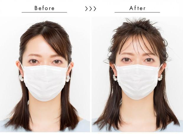 【マスクに合う髪型】くしゃもみワックスで華やかハーフアップ_正面