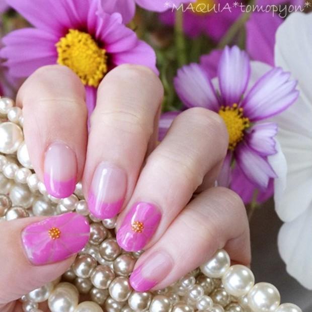 フラワーモチーフのセルフジェルネイル★秋色コスモスピンクを混色して作ってみました❤