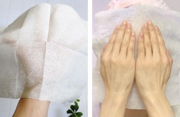 タカミ美肌コットンクロスで顔を拭いている状態