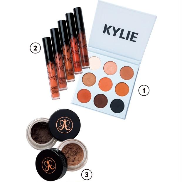 ①Kyshadow The Bronze Pallete $42、②Matte Liquid Lipstick 各$17/Kylie Cosmetics ③Dipbrow Ⓡ Pomade Chocolate、Caramel 各$21/Anastasia Beverly Hills