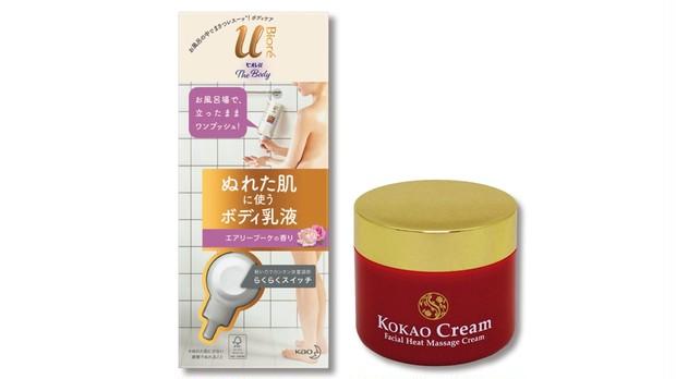 (右)KOKAO Cream 100g ¥18000/スリムビューティハウス (左)ビオレu ザ ボディ ぬれた肌に使うボディ乳液 エアリーブーケの香り 300ml(オープン価格)/花王