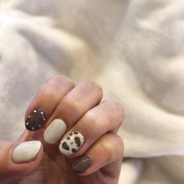 【New Nail】スタッズ&レオパードで秋ネイル