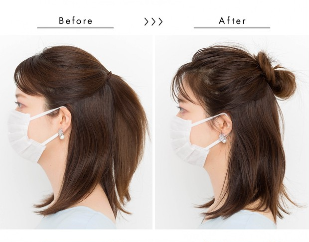 【マスクに合う髪型】くしゃもみワックスで華やかハーフアップ_サイド