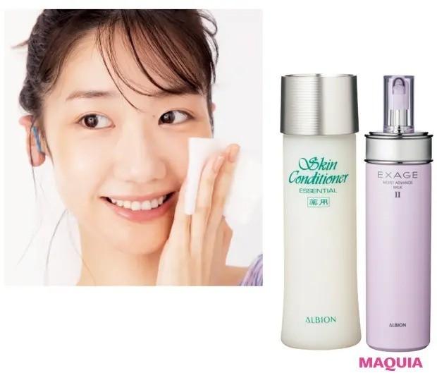 【柏木由紀さんさんのモーニングルーティン】乳液で肌をほぐした後、化粧水をチャージ