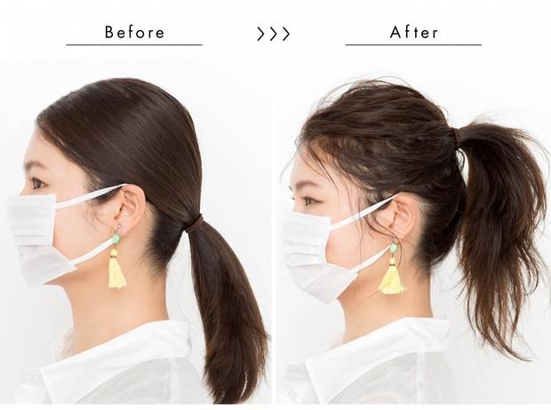 【マスクに合う髪型】いつものポニーテールも、 ちょっとしたテクでこなれ感!_サイド