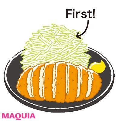 【食べ痩せダイエット】Q.千切りキャベツをたっぷり食べてからなら、とんかつもOK?