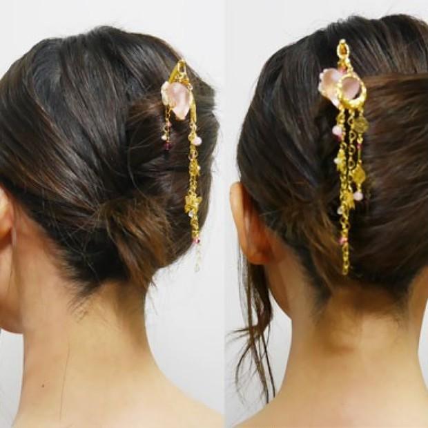 動画>>10秒でつくる夜会巻き!!お正月にオススメ、かんざしを使ったヘアアレンジ♪