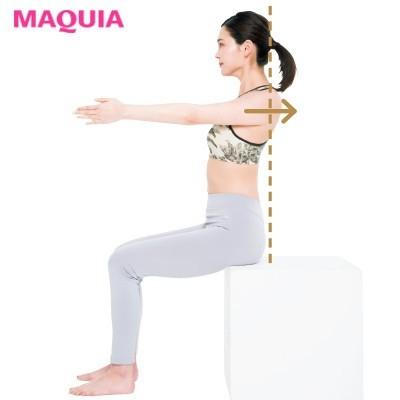 【筋トレダイエット】肩甲骨ムーブ_3肩甲骨ごと肩を後ろに引き込む。5〜10回、ゆっくりと行って。