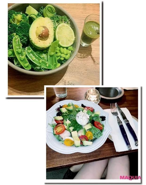 【筋トレダイエット】インスタにもみずみずしいサラダが頻繁に登場。不飽和脂肪酸を含む良質な植物性油が豊富なアボカドは、お気に入り食材のひとつ。