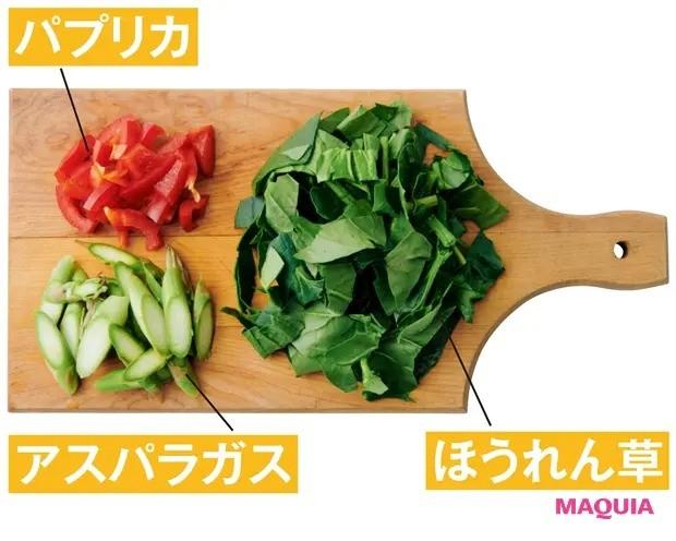 【美容スープレシピ】スパイシーなチリパウダーが味のアクセントに 「パプリカとほうれん草のジンジャースープ」材料