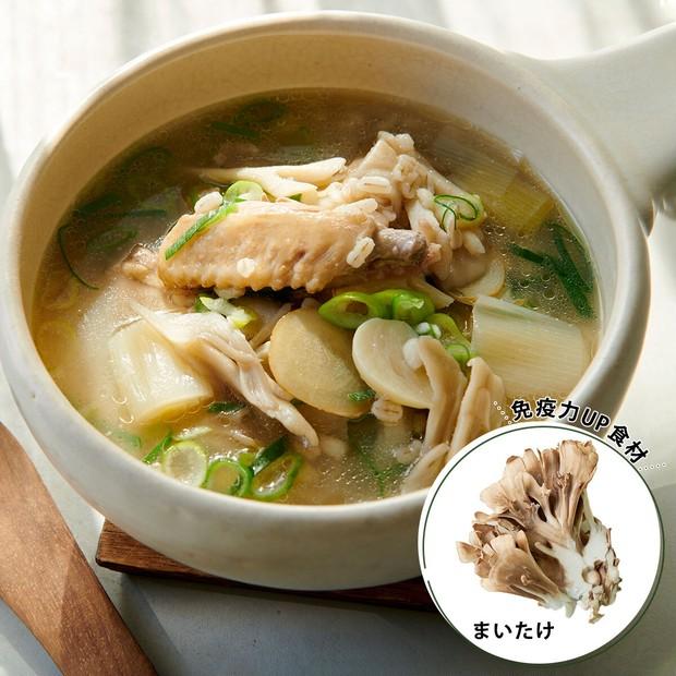 免疫力UP食材「まいたけ」で作る! 美肌や疲労回復にも◎サムゲタン風スープレシピ_1