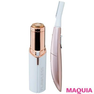【ムダ毛処理・お手入れ】(右から)乳液など使用せず剃れる電池式。フェリエ フェイス用 ES-WF61 ¥4000(編集部調べ)/パナソニック 肌あたりが非常にやさしい18金プレートの電動シェーバー。手元が見やすい、LED照明つき。フローレス ¥3980/テレビショッピング研究所
