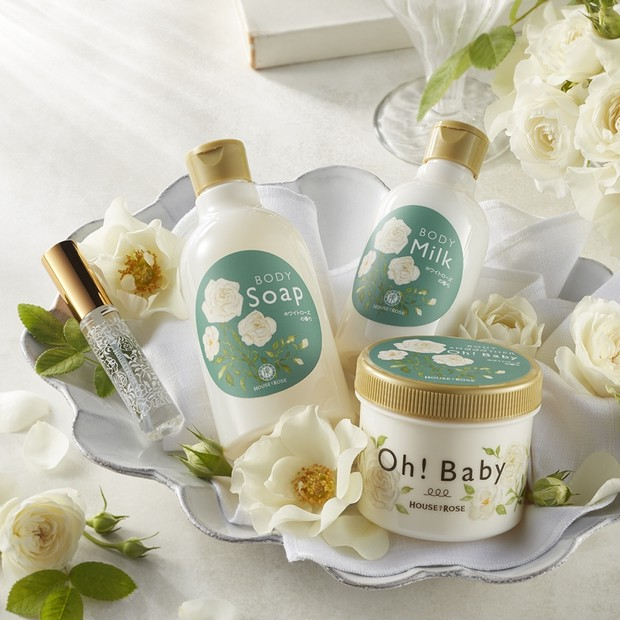 『Oh! Baby』からホワイトローズの香りが数量&期間限定発売! 4品で贅沢ボディケア