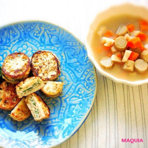 根菜で温活&美肌! ヘルシー秋おかず 「れんこんのはさみ焼き&根菜スープ」レシピ♪
