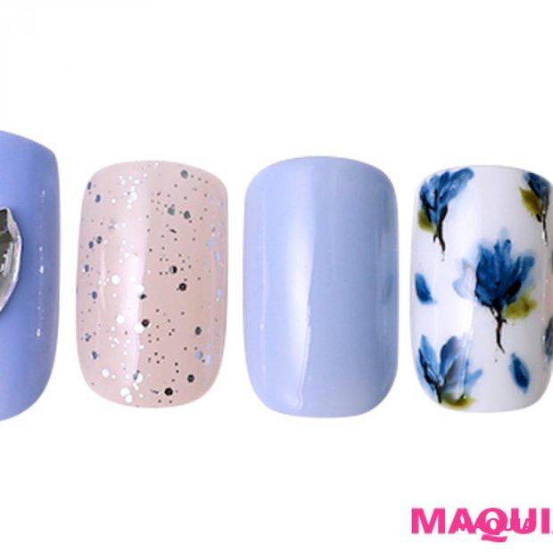 ひんやりブルーで大人っぽく、輝きを纏った「パステル&花柄」ネイル