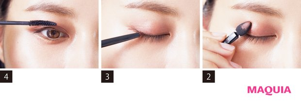 2(右)Bのパウダーを上から重ねることで、色持ちもUP。広げ方は1と同様、顔に合わせて。 3(中)Cでキワのみ細くラインを引く。ブラウンはエッジが利きすぎず、目元になじみやすい。 4(左)Dのブラシをまつ毛根元に当て手首を返すように。ビューラーは使わず繊細に仕上げて。
