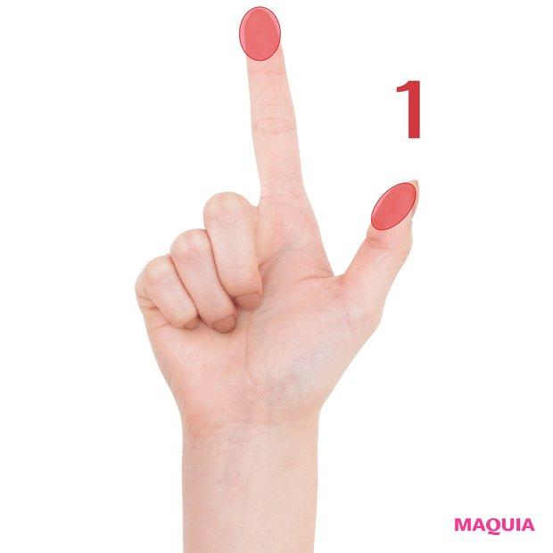 リンパを流すイメージで、親指と人差し指の腹をすべらせる
