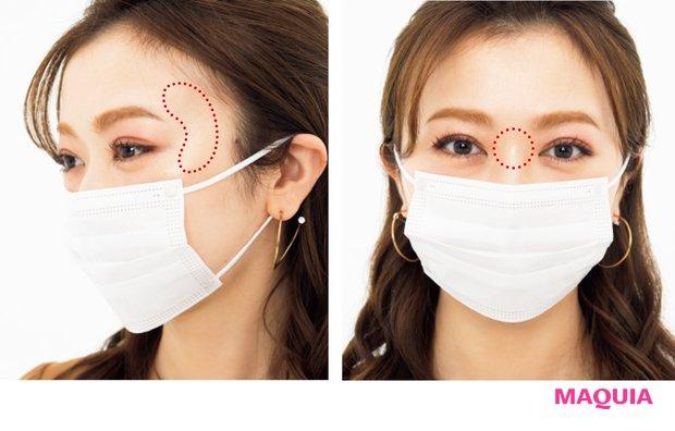 「目の横のCゾーンと、鼻筋の一番低い部分にハイライトをON。マスクから出ている部分だけでもメリハリを感じさせることができますよ」(石井さん)