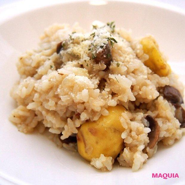 秋の味覚を堪能♡  おうちで簡単イタリアン「栗とマッシュルームの玄米リゾット」