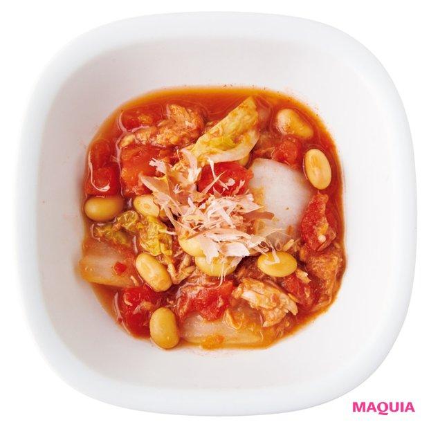 大豆と白菜の和風トマト煮込み