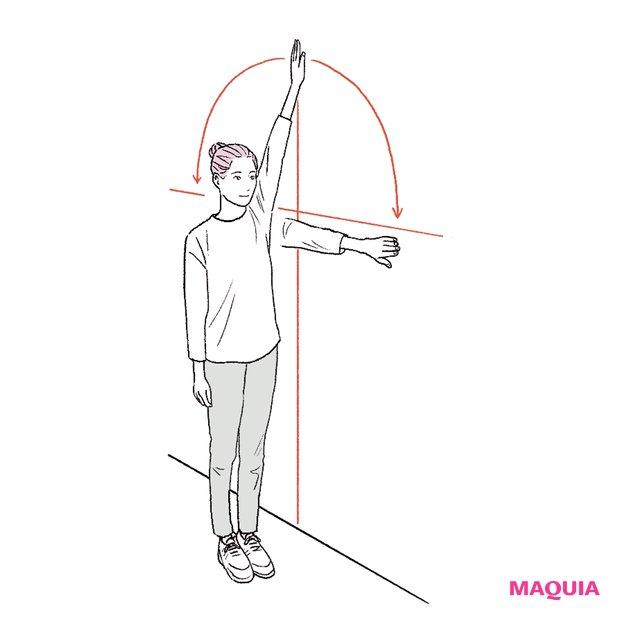 壁の横にまっすぐ立ち、肘を曲げないよう手で壁を触る。そのままワイパーのように腕を180°振ります。反対側も同様。