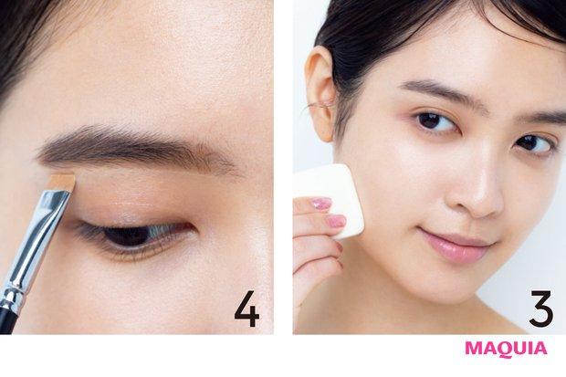 3 FDがついていない面で、逆三角ゾーンからフェイスラインに向けてなでるようになじませる。 4 眉を仕上げた後、眉下にFDでラインを仕込むことで、顔全体がリフトアップした印象に。