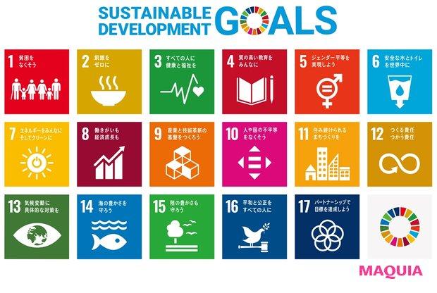 2015年に国連が制定した持続可能な開発目標(SUSTAINABLE DEVELOPMENT GOALS)。地球環境の保護や人類の平和に対して取り組むべき17項目が制定されている。