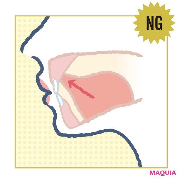 NG 舌は根元から持ち上げ