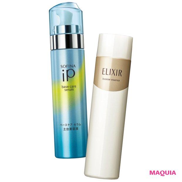 (右)炭酸入りのクリーミー泡で、化粧水がより届く肌へ導く。エリクシール シュペリエル ブースターエッセンス C 90g ¥2900(編集部調べ)/エリクシール (左)クリーミーな炭酸の泡がなめらかに肌に広がり潤いで肌を柔らかくほぐす。ソフィーナ iP ベースケア セラム〈土台美容液〉 90g ¥5000(編集部調べ)/花王