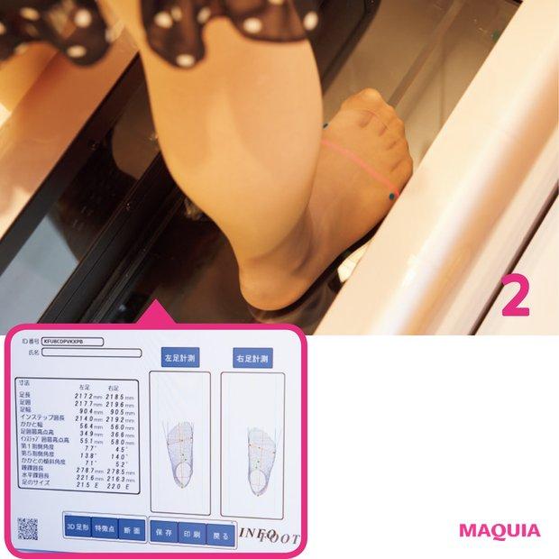 足にマーキング用のシールを貼り、マシーンの中にまっすぐ立つだけ。両足でもほんの数十秒で計測完了。