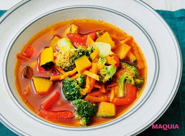 緑黄色野菜たっぷりで抗酸化パワー絶大! 「かぼちゃとブロッコリーのオイスターソーススープ」
