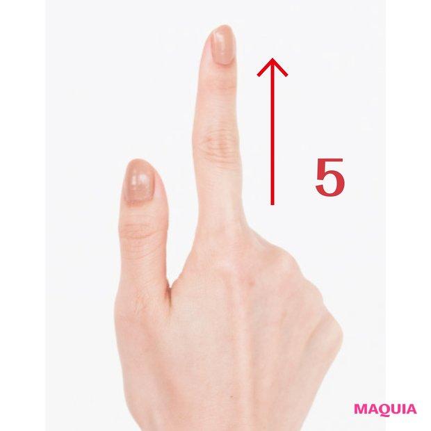 親指と人差し指の腹を使い、下から上へとやさしく引き上げる