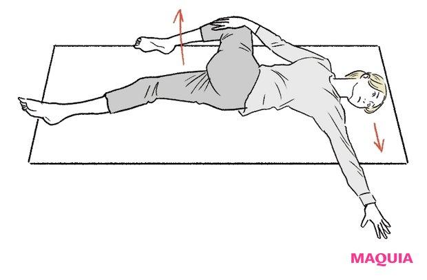 右脚をまっすぐ伸ばし、曲げた左膝に右手をのせる。左膝を右へ、上半身は左へ違う方向にねじり、体を引っ張り合って。これを左右5秒ずつ行って。