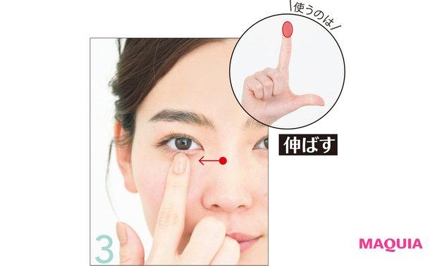 右の鼻のつけ根に右手の人差し指を置く。指の腹を黒目の下まで伸ばして3秒キープ