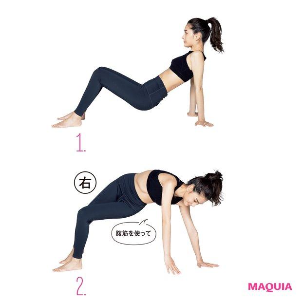 1.ひざを立て、手を肩の下についてお尻を上げる/2.右手で左側の床をタッチ