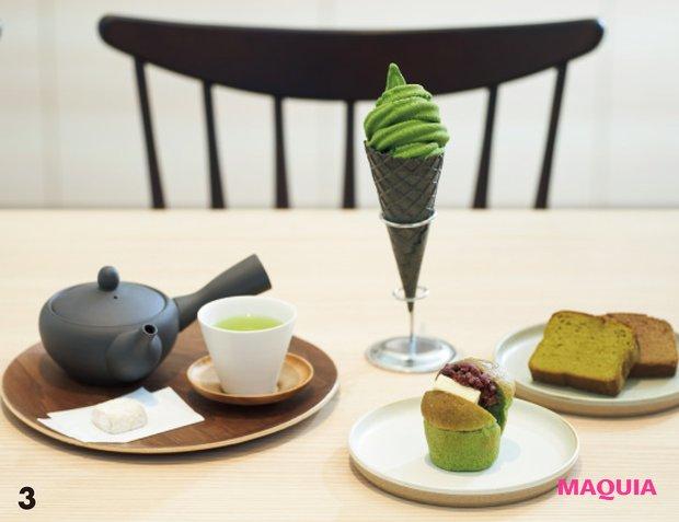 3「米粉のブラウニー」¥240や「酒茶ケーキ」¥300、「ジェラート」¥380〜も。