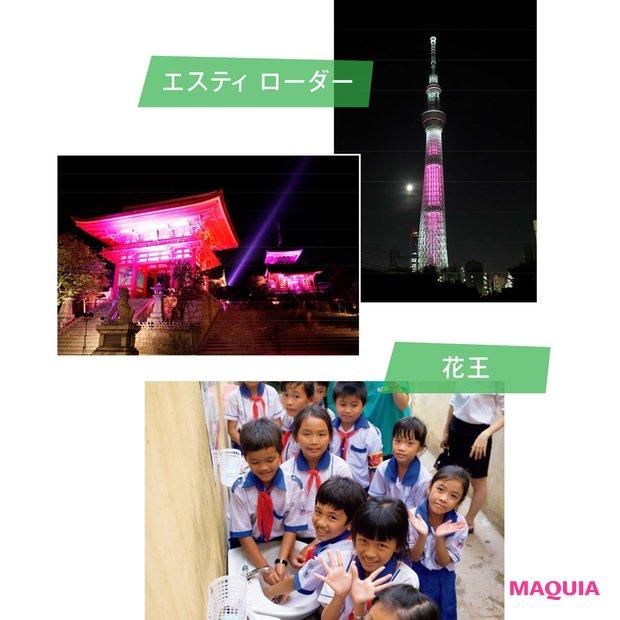 2019年度、エスティ ローダーのピンクリボン活動は東京スカイツリーと京都の清水寺から世界に発信。花王は2016年より国連児童基金(ユニセフ)によるベトナム学校衛生プロジェクトを支援。衛生習慣の定着はウイルスの脅威と闘う昨今のテーマでもある。