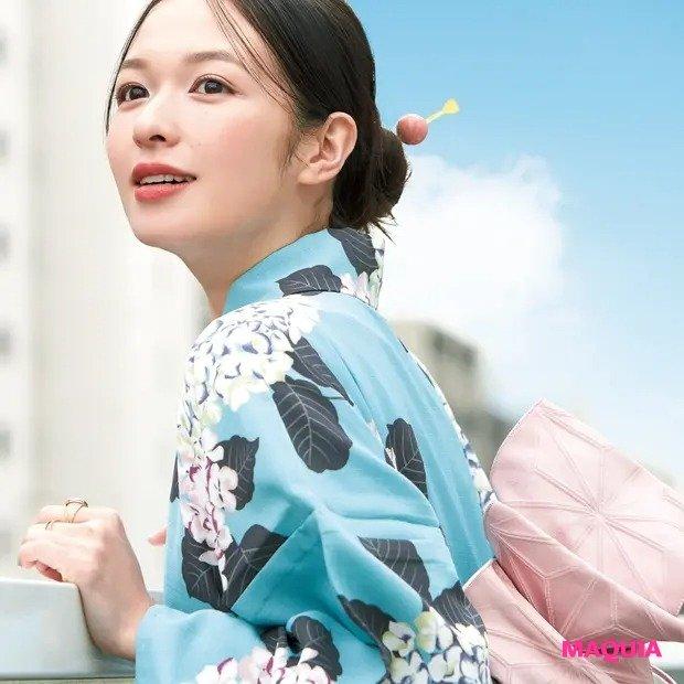 森 絵梨佳さんの浴衣メイク! ピンク×グリーンで涼しげに、軽やかに