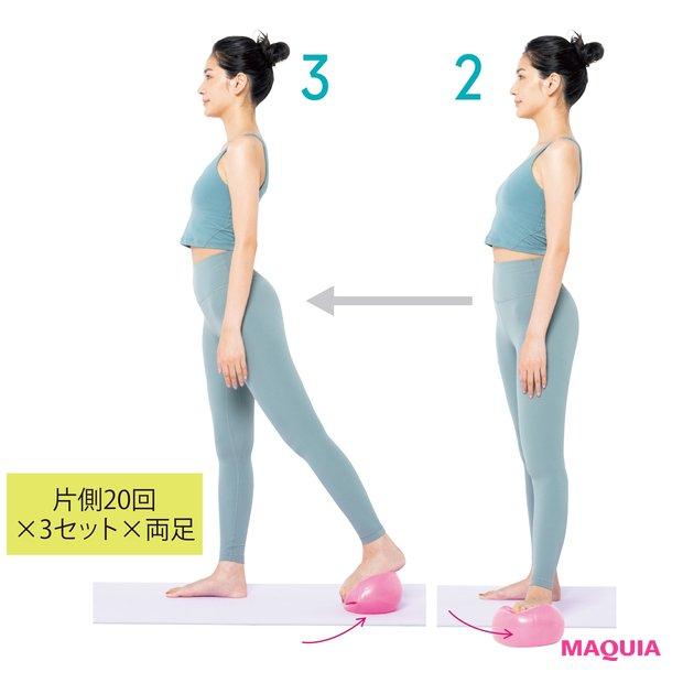 体の横、後ろにボールの位置を移動させて同様に行う。足を後ろ側にする時は、かかとを上げてつま先でボールをつかむ。