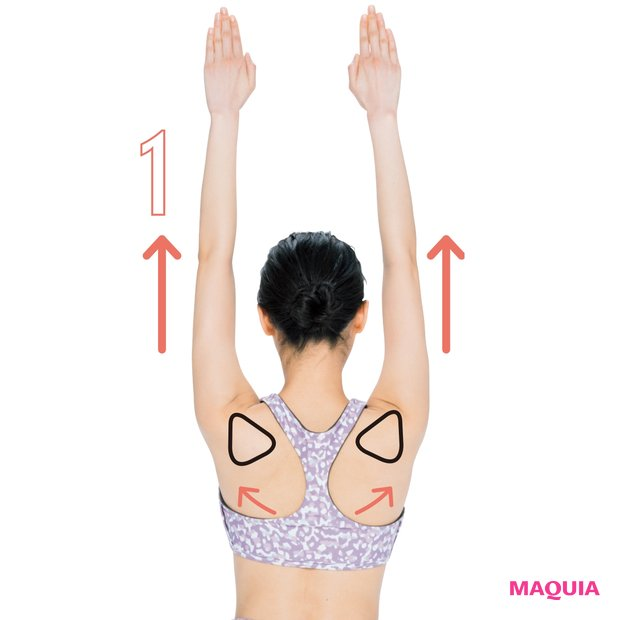 腕を伸ばし肩甲骨を開く