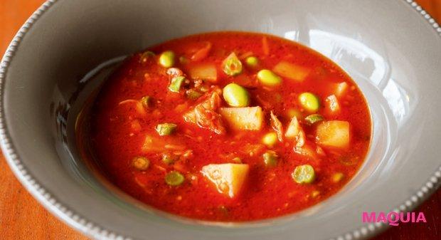 枝豆とじゃがいものトマトスープ