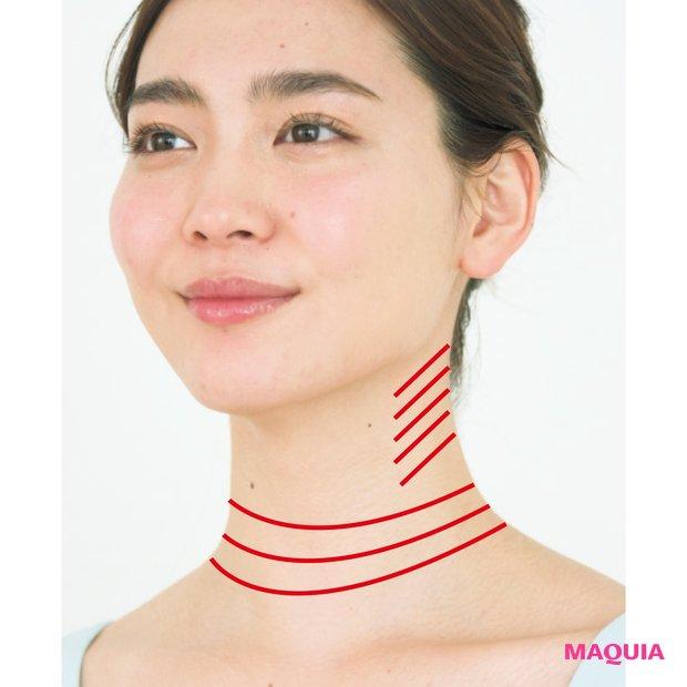 デスクワークで同じ体勢を続けている人に多いのが、首の上側のシワ。顔のむくみや首・肩のコリがある人は首の下側にシワが入りやすい